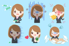 Businesswoman do different emotion vector illustration