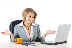 Businesswoman with do not know gesture Stock Photography