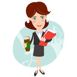 Businesswoman with document folder and cup of coffee. Flat style Royalty Free Stock Images