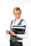 Businesswoman with documents. Woman holding a folder with documents Stock Photo