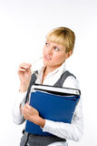 Businesswoman with documents. The girl is holding the documents Stock Photos