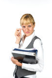 Businesswoman with documents. Woman in glasses with documents Royalty Free Stock Images