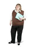 Businesswoman with documents. Isolated full length studio shot of a casual businesswoman with documents stock photography