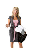 Businesswoman with documents and briefcase. Young beautiful girl, a businesswoman with documents and briefcase on the white background royalty free stock photo