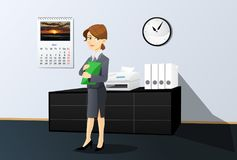Businesswoman in office. Businesswoman with documents is standing in office Stock Photos
