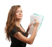 Businesswoman with documents  on white Royalty Free Stock Images