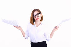 Businesswoman with the documents Royalty Free Stock Photos