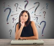 Businesswoman does the questions Stock Image