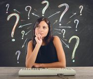 Businesswoman does the questions Stock Photo