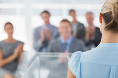 Businesswoman doing conference presentation Royalty Free Stock Image