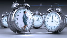 Businesswoman doing jogging on giant clock. On grey background stock video