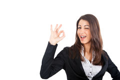 Businesswoman doing ok sign Royalty Free Stock Images