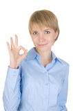 Businesswoman  doing the okay sign Royalty Free Stock Images