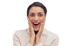 Businesswoman doing surprised gesture Royalty Free Stock Photo