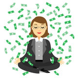 Businesswoman doing yoga meditation with dollars banknotes. Flying in the air.  Business success concept vector cartoon illustration Royalty Free Stock Photos
