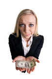 Businesswoman with dollar. On a white background Stock Photos