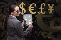 The businesswoman with dollar in business concept Stock Photography