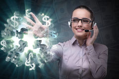 The businesswoman with dollar in business concept Royalty Free Stock Image