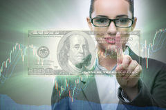 The businesswoman with dollar in business concept Stock Image