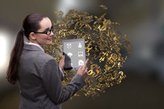 The businesswoman with dollar in business concept Royalty Free Stock Photo