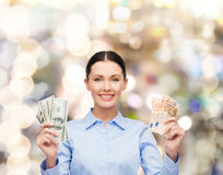 Businesswoman with dollar cash money Royalty Free Stock Photos