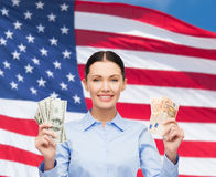 Businesswoman with dollar cash money Stock Image