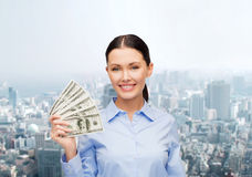Businesswoman with dollar cash money Stock Photography