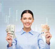 Businesswoman with dollar and euro cash money Stock Images