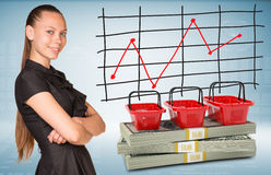 Businesswoman and dollar packs with shopping bags Stock Photos