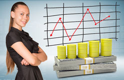 Businesswoman and dollar packs with yellow barrels Stock Photos
