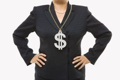 Businesswoman with dollar sign stock photos