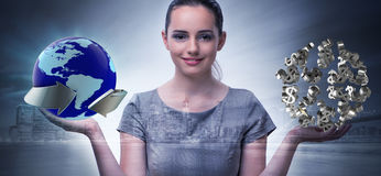 The businesswoman with dollars in business concept Royalty Free Stock Image