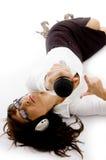 businesswoman down holding lying microphone Στοκ φωτογραφία με δικαίωμα ελεύθερης χρήσης