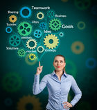 Businesswoman  with  draw a gear system. Beautiful businesswoman  looking at  draw a gear system Stock Images