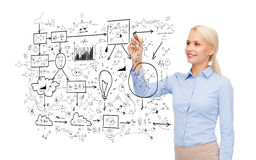 Businesswoman drawing big plan in air with marker Stock Images
