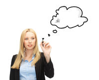 Businesswoman drawing blank text bubble Stock Photography
