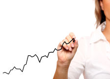 Businesswoman drawing a chart Stock Images