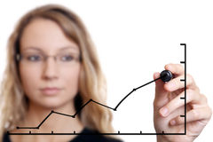 Businesswoman drawing a chart Stock Image