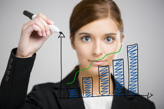 Businesswoman drawing a chart Royalty Free Stock Photos