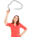 Businesswoman drawing cloud Stock Image