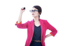 Businesswoman drawing on copy space Stock Photos