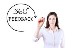 Businesswoman drawing a 360 degrees Feedback concept on the virtual screen. Isolated on white. Stock Photo