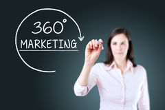 Businesswoman drawing a 360 degrees Marketing concept on the virtual screen. Blue background. Royalty Free Stock Photo