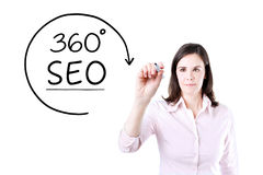 Businesswoman drawing a 360 degrees SEO concept on the virtual screen. Businesswoman drawing a 360 degrees SEO concept on the virtual screen Royalty Free Stock Photos