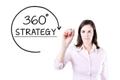 Businesswoman drawing a 360 degrees Strategy concept on the virtual screen. Royalty Free Stock Photo