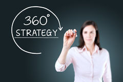 Businesswoman drawing a 360 degrees Strategy concept on the virtual screen. Blue background. Stock Image