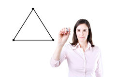 Businesswoman drawing a diagram with the balance between three sides from a triangle Royalty Free Stock Photo