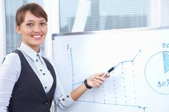 Businesswoman drawing graph Stock Images