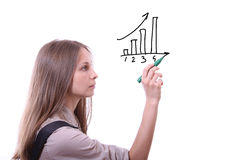 Businesswoman drawing graph Royalty Free Stock Image