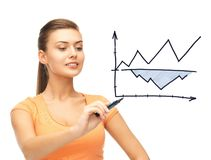 Businesswoman drawing graph in the air Royalty Free Stock Images